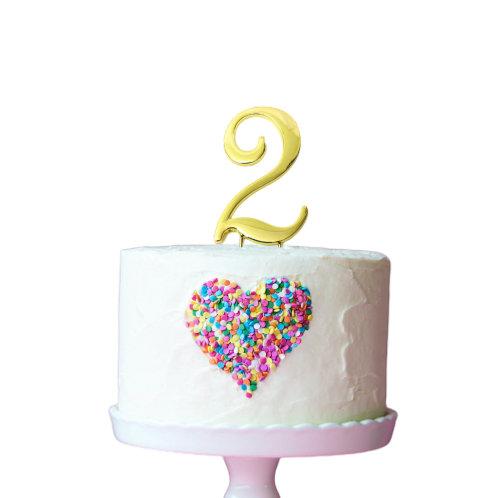 Gold Cake Topper - Number 2