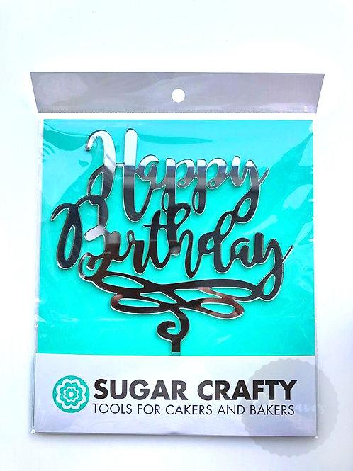 Happy Birthday Silver Mirrored Cake Topper