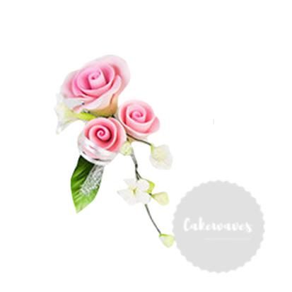 Pink Rose Edible Sugar Flower Spray 8cmx 12cm