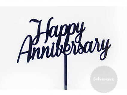 Happy Anniversary - Black Acrylic Cake Topper