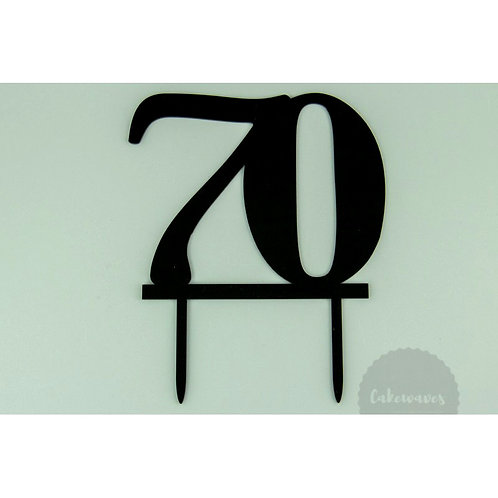Number 70 - Black Acrylic Cake Topper