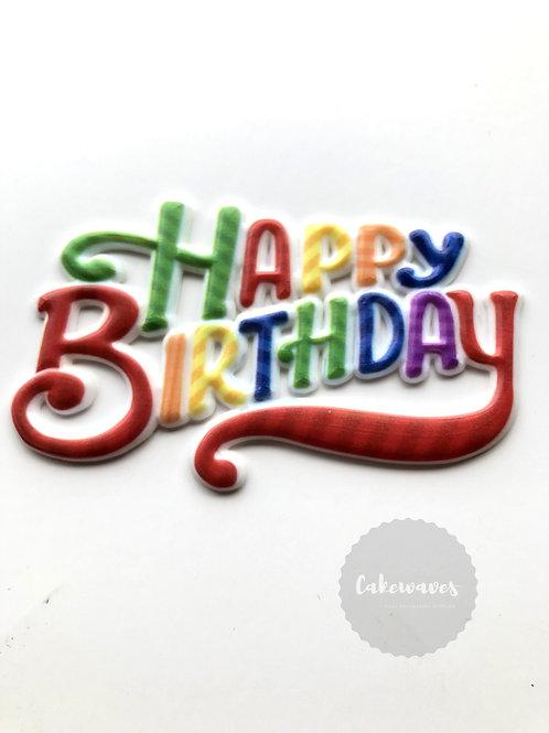 Happy Birthday Cake Topper Plaque - Rainbow