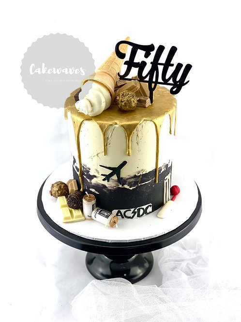 Golden Drip Fiftieth Birthday Cake