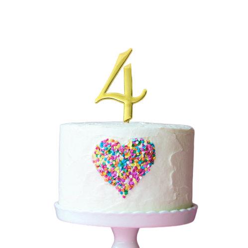 Gold Cake Topper - Number 4