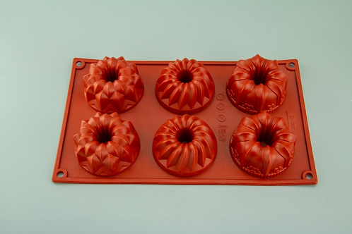 6 Cavity Assorted Bundt Silicone Mould