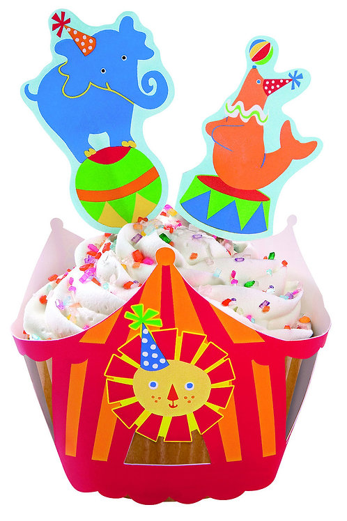 Big Top Circus Cupcake Wraps n Picks 36 pcs