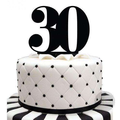 Number 30 - Black Acrylic Cake Topper