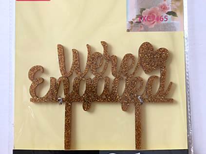 Engagement Gold Cake Topper