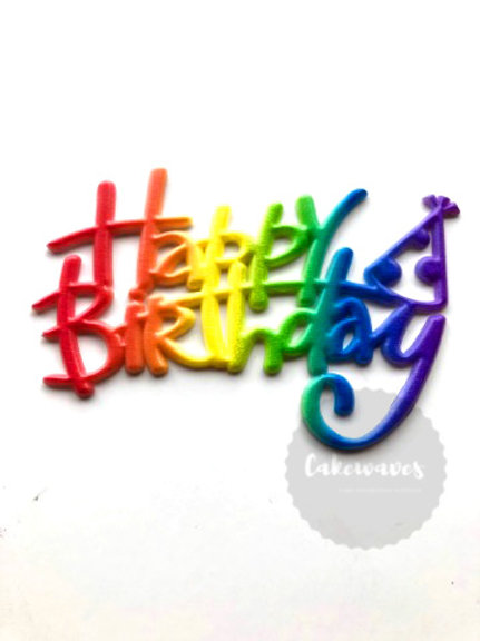 Happy Birthday Cake Topper Script - Rainbow