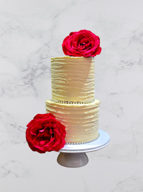 Two Tiered Rustic Finish Wedding Cake