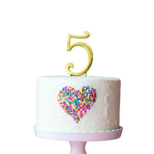 Gold Cake Topper - Number 5