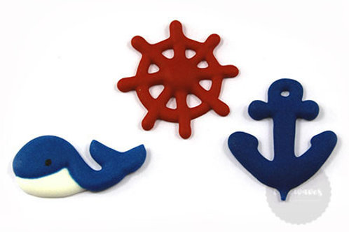 Nautical Assortment Royal Icing Decorations 6pc
