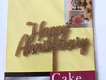 Happy Anniversary Gold Cake Topper