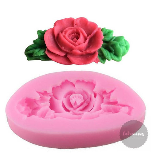 Rose With Leaves Silicone Mould
