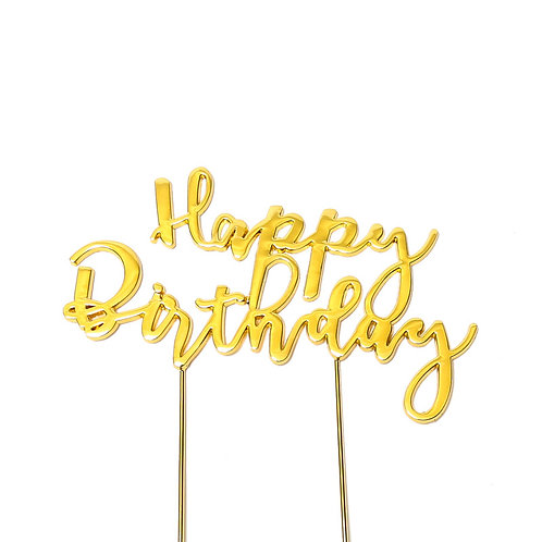 Gold Plated HAPPY BIRTHDAY Cake Topper pic1