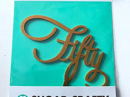 Script Fifty Gold Cake Topper