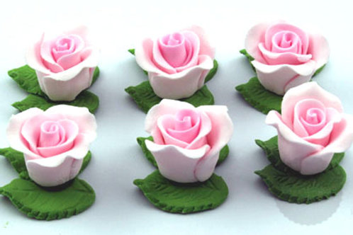 Pink Cupcake Roses with Leaves - 6pc Hangsell