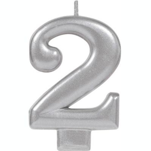 Metalic Silver Birthday Candle - Two