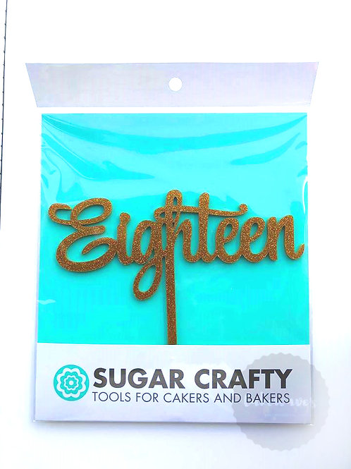 Script Eighteen Gold Cake Topper