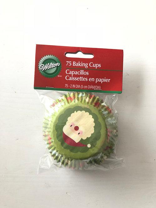 Christmas Santa Face Cupcake Case Light Green Bottom