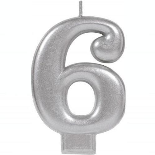 Metalic Silver Birthday Candle - Six