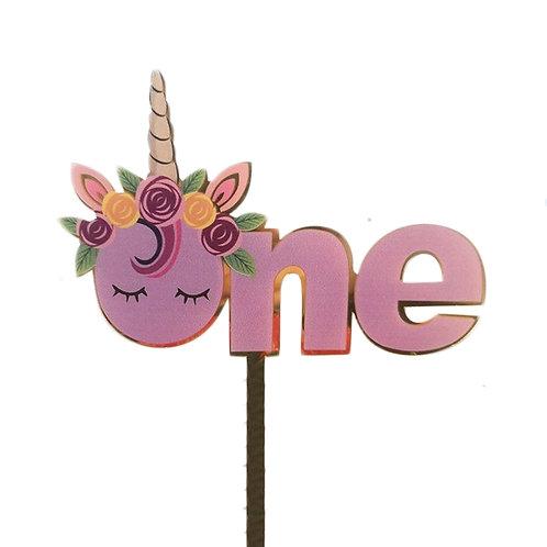 Acrylic Unicorn Cake Topper - ONE