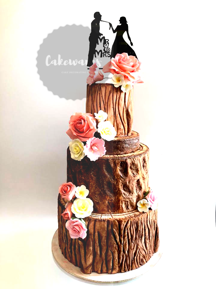 Wood Trunck Wedding Cake
