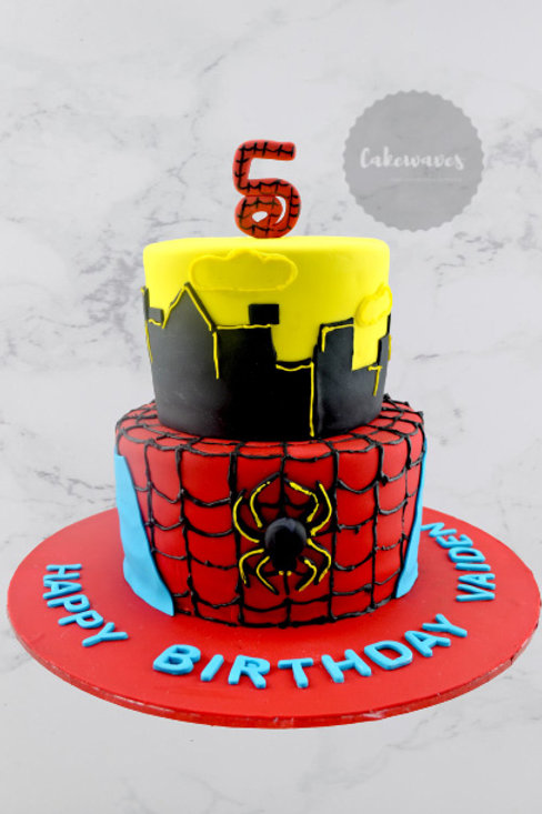 Two Tiered  Spiderman Birthday Cake