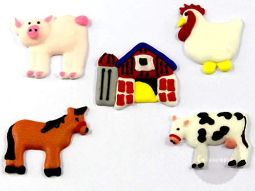 Farm Animals Assorted Royal Icing Decorations 5pc