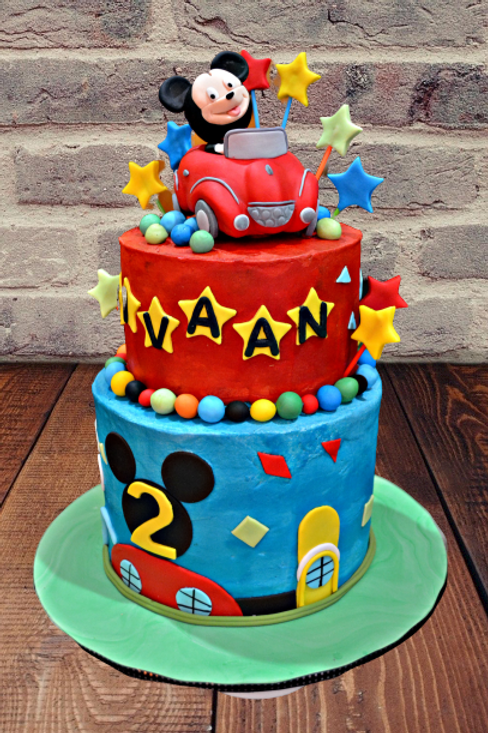 Mickey Mouse Two Tier Birthday Cake