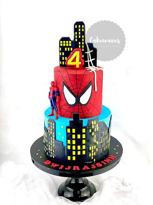 Spiderman Two Tier Birthday Cake