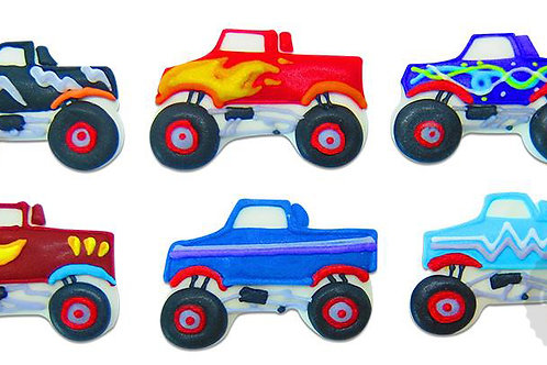 Monster Truck Royal Icing Edible Decorations 6pc