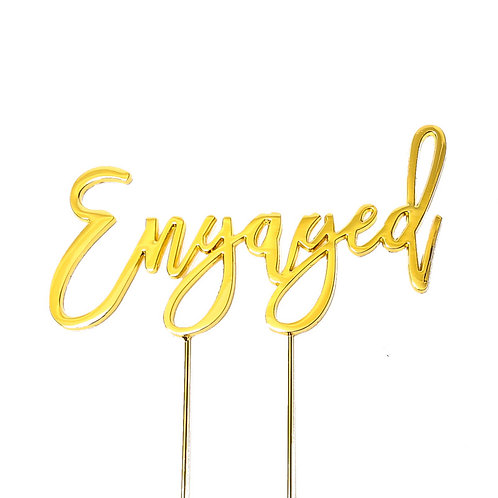 Engagement Gold Plated Cake Topper pic1