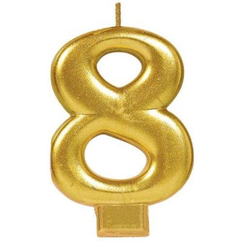 Metalic Gold Birthday Candle - Eight