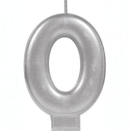 Metalic Silver Birthday Candle - Zero