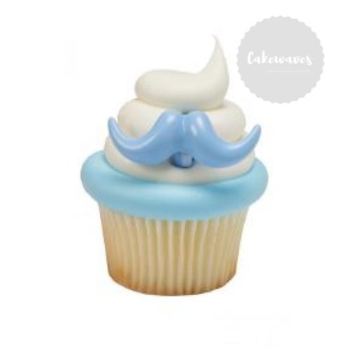 Blue Mustache Cupcake Rings