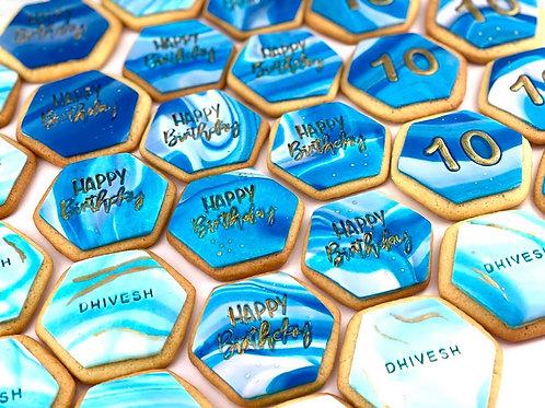 Happy Birthday Marbled Cookies - 20pc