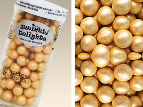 Quality Sprinkles - Natural Gold 8mm Pearls 70g
