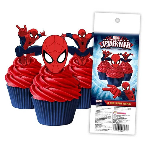 Spiderman Edible Wafer Cupcake Toppers  - 16pc