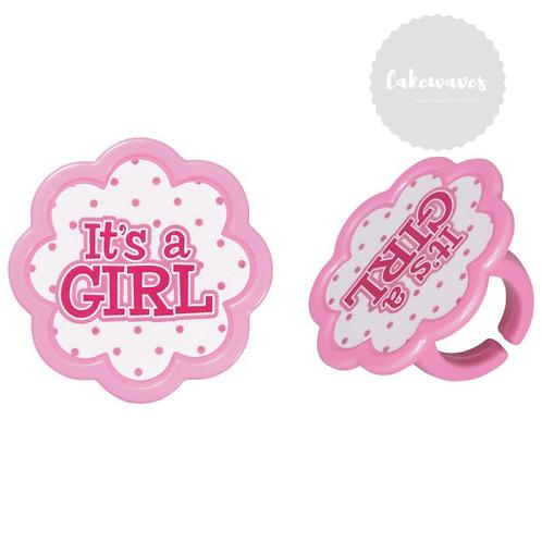 Its a Girl Cupcake Rings - 10 pcs