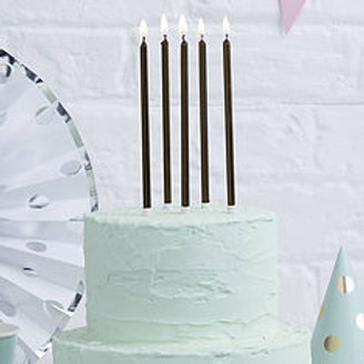 12cm Tall Cake Candles Black (Pack of 12)