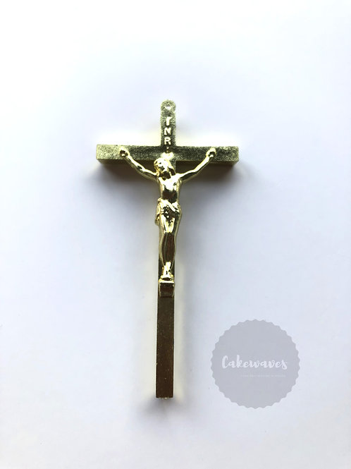 Gold Cross Cake Topper Figurine