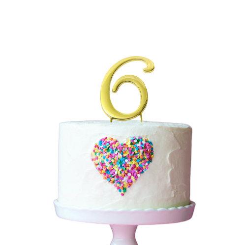 Gold Cake Topper - Number 6
