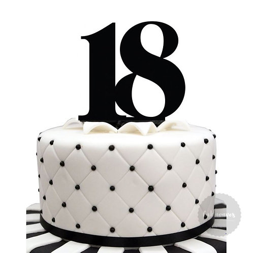 Number 18 - Black Acrylic Cake Topper