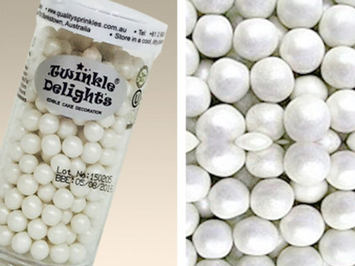 Quality Sprinkles - Natural Pearlized White 8mm Pearls 70g