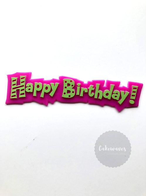 Funky Happy Birthday Cake Topper Script - Hot Pink