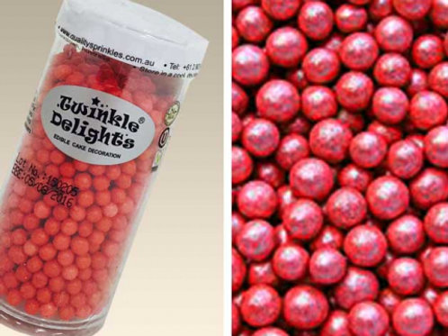 Quality Sprinkles - Natural Red 4mm Pearls 60g