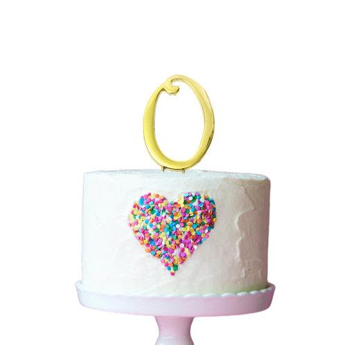 Gold Cake Topper - Number 0