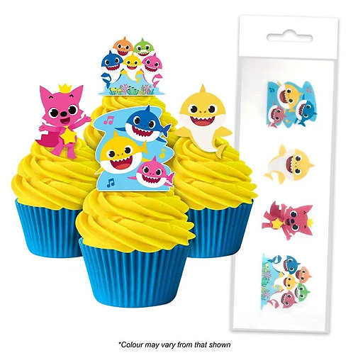 Baby Shark Edible Wafer Cupcake Toppers  - 16pc