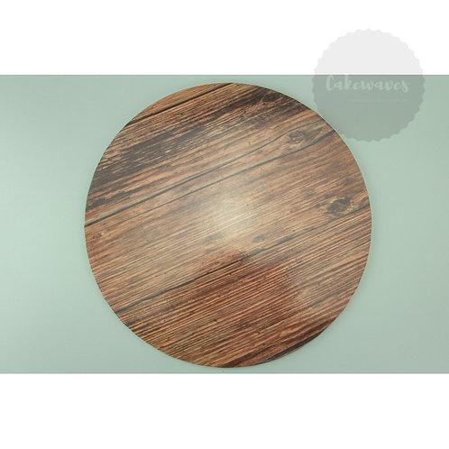 12 inch Round Dark Wood Pattern Masonite Cake Board
